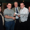 05W5N209 Leo Hayes and Eddie O Donnell of Concern are presented with a Cheque proceeds of the Tsunami Appeal Charity Night in the Cavern Bar by Eddie Murphy, Sandra O Hare and Jim Strain Paul Byrne Photography