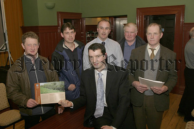 Pictured at the Countryside Management Scheme Roadshow in Markethill,  Brian Finch (D.A.R.D) with local farmers, John Marshell, Stephen Meredith, Raymond Johnston ( D.A.R.D), Jack Gray and Robert William Dougan. 05W8N52.