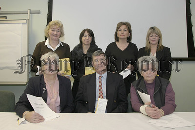05W8N54.  Newry & District Branch, Alzheimers Society, New Committee for 2005, back l-r, Marie Hanna (committee), Marlyn Sweeney(comm), Susan Mackin (comm) & Sharon Murphy (comm). front l-r, LillianMc Kevitt (Asst treasurer),Kieran Hanna(chairperson) and Maura Mc Quaid (treasurer).