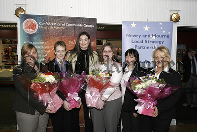 Confederation of Community Groups Annual Training awards at the Quays Omniplex on Wednesday last, Special Presentations to volunteer tutors from the Quays Shopping Centre. In picture, Rae Cartmill, Martina Mc Keown, Cathy O' Hanlon, (The Quays), Linda Henry,Una Durnin, Dympna Maguire