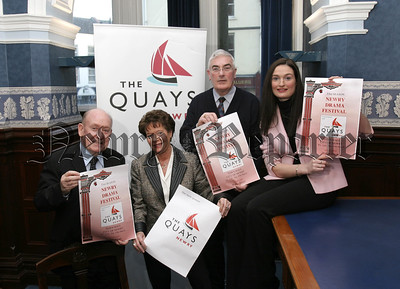 Launch of the 53rd Season Newry Drama Festival, LtoR. Charlie Smyth, (Festival President), Maureen Grant.(PRO), Gerry Mc Nulty,(festival Chairman), Cathy O' Hanlon, (The Quays,main sponsors).