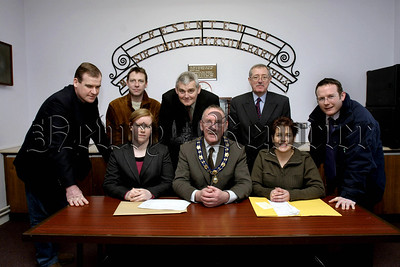 New Planning Clinic for South Armagh. Local Councillors  picture, Lto R.Terry Hearty, John Fee, Colman Burns, Thomas Mc Call, CEO Newry & Mourne council, Phelim Marron, (Senior Planner), Seated, Sarah Walker, (Planers), Deputy Mayor John Feehan, Elana Martin