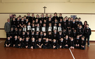 St Malachys PS Carnaget Newry Pupils who received Newry Lions Sponsored Swim certificates from Tony O' Hare.