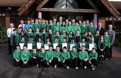 Primary 7.St Ronans Newry Pupils who received Newry Lions Sponsored Swim certificates from Tony O' Hare.