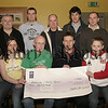 Members of the Cavern Bar Dippers, Present a cheque for £3000 to Aidan Carroll (treasurer of macmillan cancer relief, newry branch) Proceeds from New Years Day Charity Dip in Camlough Lake, Photo ,Front l-r, Aoife Mc Court, Aidan Carroll (macmillan cancer relief), Brendan Campbell &Daniel Keenan. Back l-r, Gerard Keenan, Collie Mc Gurk, Myles Mc Court, Micheal Lynch & Decky Mc Parland. 05W9N55.