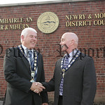 New Mayor and Deputy Mayor, Michael Cole and Charlie Casey are pictured outside Council buildings on Monday last. 07W24N31