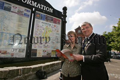 Mayor Michael Carr is pictured with Margaret Richie MLA Minister of Social Development at the Launch of Newry and Mourne's Concise Dictionary. 07W24N3