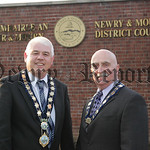 New Mayor and Deputy Mayor, Michael Cole and Charlie Casey are pictured outside Council buildings on Monday last. 07W24N33