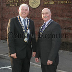 New Mayor and Deputy Mayor, Michael Cole and Charlie Casey are pictured outside Council buildings on Monday last. 07W24N32