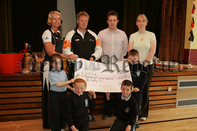 Pupils, Calla, Oisin, Connor and Amy from St Joseph's P.S. Bessbrook present Davy McDonald and Sharon Larkin from USPCA with a cheque for £612 the proceeds of a be active for animals day held in the school. Also pictured are Teacher Michael Doran and Sharon Larkin. 07W24N38