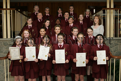 St Mary's High School Year 8 presentations. Pictured are class 8/24 Merit Winners with their teacher Mrs Teresa Kearney. 07W26N12