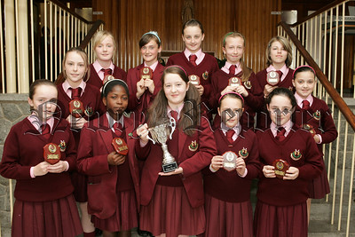 St Mary's High School Year 8 presentations. Pictured are the Highest Merit recipients with overall best girl Danae Morley. 07W26N8