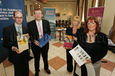 Ronan Cunningham McShane Solicitors, Gordon Storrie Autoline Mortages, Angela Calvert Co-Ownership and Edwina Flynn Best Property Services are pictured at a Home Buyers information evening held in the Sean Hollywood Arts Centre on Thursday last. 07W27N15