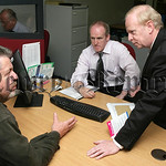 picture by John McVitty, Enniskillen, Co.Fermanagh, N.Ireland-07771987378 Sir Reg Empey, Employment and Learning Minister chatting with Christopher McCarthy, Pathways client during the minis ...