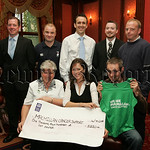 Martha McGrath from Macmillan Cancer Support recieves a cheque from Martina and Aiden Doyle for �1210 the proceeds of their participation in the Belfast City Marathon. Also pictured are, Se ...