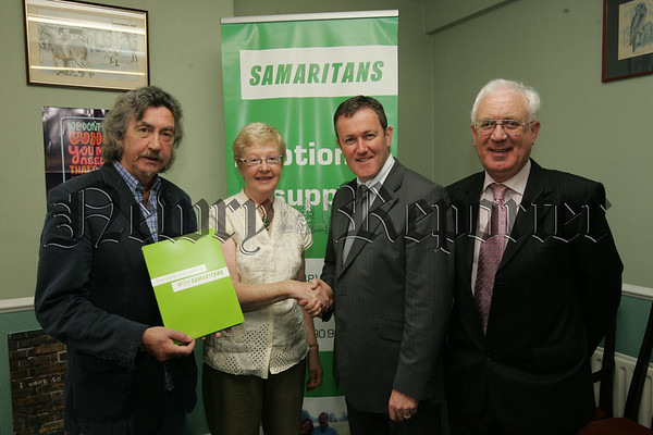 Maura Grant Director of the Samaritans Newry meets Conor Murphy Minister Regional Development and Micky Brady MLA, also pictured is Paddy Mallon Director Samaritans Newry. 07W30N19