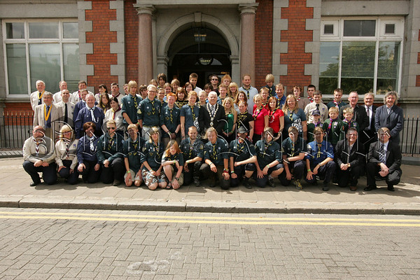 Pictured are 70 Scouts some from as far away as Sweden at a civic reception hosted by Mayor Michael Cole at Newry Arts Centre on Wednesday last. 07W31N3