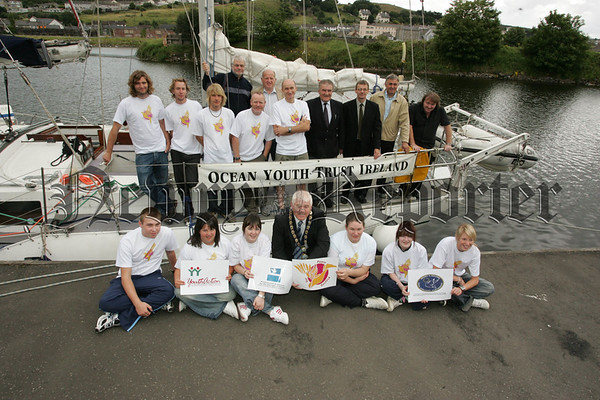 Pictured with Mayor Michael Cole and Council Officials are members of the Ocean Youth Trust Ireland who will sailed around Carlingford Bay as part of their Summer Youth project. 07W31N26
