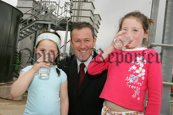 Conor Murphy MLA is pictured with Aiofe and Aideen Murtagh from Crossmaglen who called into the new Water Treatment Works at Carran Hill to test out the quality of the Water. 07W31N10
