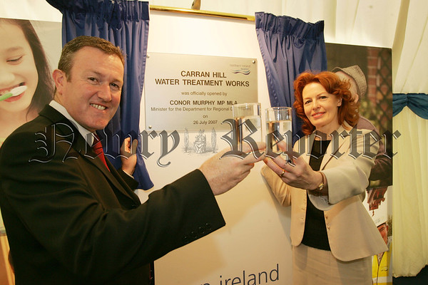 Conor Murphy MP MLA is pictured with Katharine Bryan CEO od Northern Ireland Water at the official opening of the Water Treatment Works at Carran Hill Crossmaglen. 07W31N8