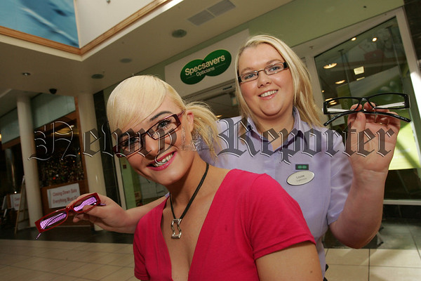 Lousie Malone Store Supervisor Specsavers Newry is pictured with the winner of the  Sexy Specs competition Aisling Murtagh from the Armagh Road in Newry. 07W30N17