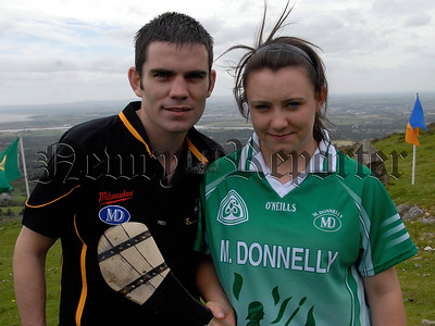 M Donnelly All Ireland Poc Fada Final, Armaghs Laura McGuiness with Boxer Bernard Dunne. 07W32S255