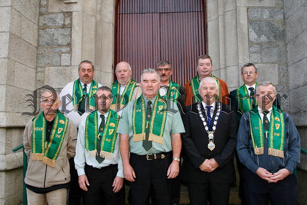 The All Ireland Excutive of the Irish National Foresters pictured after mass in St Marys Star of the Sea Chaple Rostrevor, The All Ireland foresters convention was held in Rostrevor last weekend and hosted by the local Fr Matthew branch, Included are Dan Doyle ( chief ranger fr matthew branch rostrevor host club),Harry Morgan (treasurer), Pat Hanna (high chief ranger), Michael Cole (mayor), Sean Feeney (HSCR), Gerry Mc Cusker(gen sec north),Damien Farmer (asst secretary north), John Mc Kay (trustee), Gerry Mc Grath (gen sec south) and Martin Connor (EC treasurer south), 07W32N300