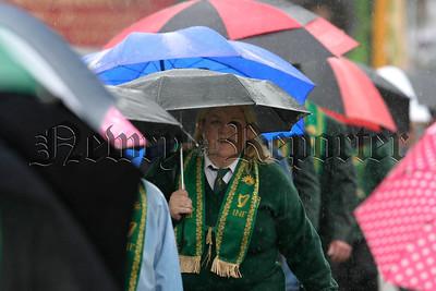 Councillor Karen Mc Kevitt of the Ballyholland foresters branch at the Rostrevor parades, 07W32N310