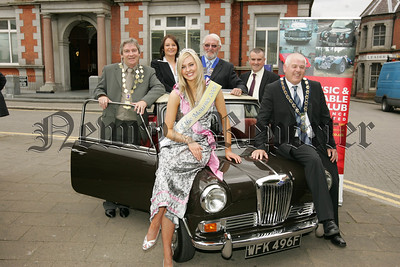 Pictured with Mayor Michael Cole and Maiden of the Mourne Orla Byrnes at the launch of the Kilbroney 2000 Old Veichle Rally are, Tony Quinn President Newry Lions Club, Clare Atcheson CCC Insurance, Ray Hamilton Chairperson AVOC and Colin Kavanagh from THe Quays. Picture Peter Clarke. 07W33N1
