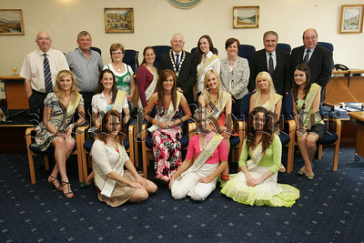 Mayor Michael Cole is pictured with the Maidens of the Mourne at a civic reception held in their honour at council offices on THursday last. Also pictured are Councillors, Caitronia Ruane MLA, PJ Bradley MLA and Paul Braham. 07W33N5