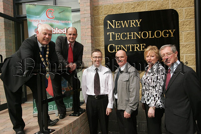 Mayor Michael Cole is pictured with Liam Devine General Manager Clanrye Employment and Training at the opening of the Newry Techonolgy Centre at Monaghan Court on Thursday Last. Also pictured are, Francis McParland Training Consultant, Deputy Mayor Charlie Casey, Collette McGuinness and Thomas McCall. Picture Peter Clarke. 07W33N10