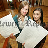 Pictured areSarah Boardman and Emma McIntyre pupils at Sacred Heart G.S. who each gained the top A Star grade in al ten of their subjects. 07W35N3