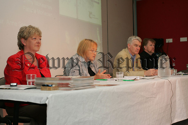 Pictured are the platform party, Patricia McKeown, Anne Speed, Tommy McKearney and Christy McQuillan during a lecture on the cause of labour: Irishrepublicanism and the workers struggle the event which ran from 22nd to the 24 August was organised by Coiste na nIarchimi and held in the Ti Chulain centre Mullaghbawn. 07W35N10