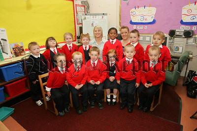 Pictured with their Teacher Miss O. Smyth and Classroom Assistant Miss Harte are the Primary 1 class at St Joseph's P.S. Newry. 07W37N23