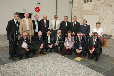 Pictured with Mayor Michael Cole, Deputuy Mayor Charlie Casey, Councillors and Council Officials is Arlene Foster MLA Minister for Emvironment who paid a vist to Bagenals Castle in Newry on Wednesday last. 07W37N6