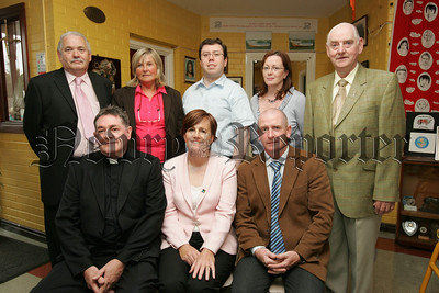 Caitriona Ruane MLA Minister for Education is pictured with Anthony Flynn, Ann Murphy, Liam Reichenberg, Kevin Campbell, Paula Murkens, Fr John Heagney and Principal Peter McDonnell during a visit to St Mary's Primary School Mullaghbawn on Wednesday last. 07W38N12