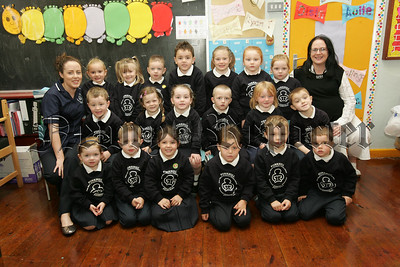 Pictured with their Teacher Mrs Siobhan Morgan and Classroom assistant Miss Siobhan McKeever are the new primary 1 pupils at Forkhill Primary School. 07W38N1