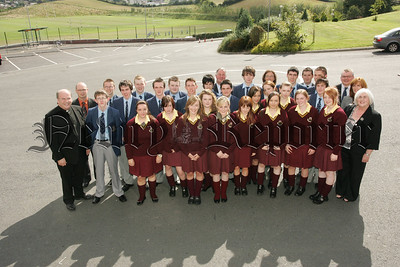 Pictured are pupils from St Colmans's and St Mary's High School Newry who will participate in a joint syudy collabaration between themselves and the Southern Regional College. Also pictured are, Dr Francis Brown, Miss Geraldine McClory, Mr Maurice Fitzpatrick, Mr Michael Doyle, Dr Mairead McGowan, Mr Shane Keenan, Mr Raymond Hogan and Mrs Mary Connolly. 07W37N36