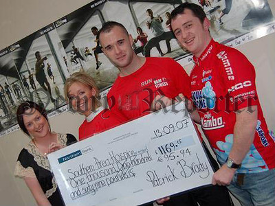 Paddy's Spin-a-thon is Huge Success for Hospice Fiona McQuade, Community Fundraising Officer, Southern Area Hospice, visited BGM Fitness, Newry, to collect a cheque from Paddy Brady for Southern Area Hospice Services. Paddy's 24-hour indoor sponsored Spin-a-thon started on August 31 at 12 noon and raised £1,169.15 and €95.94. Paddy wishes to thank BGM Fitness and everyone who supported him. Pictured, l-r, are Fiona McQuade, Fundraising Officer, Southern Area Hospice, Laura Cullen, Fitness Instructor, and Martin McDonnell, Gym Instructor at BGM Fitness, with Paddy Brady. 07W38N145