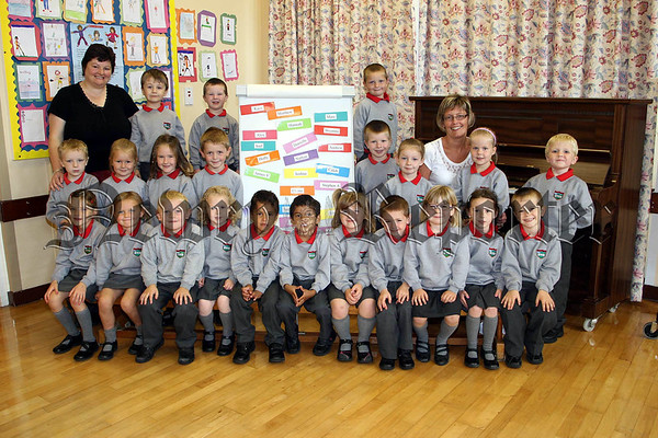 Pictured are the boys and girls of P1 at Brackenagh West Primary School with their teacher Mrs Karen Annett and classroom assistant Lorna Henderson 07W38N141