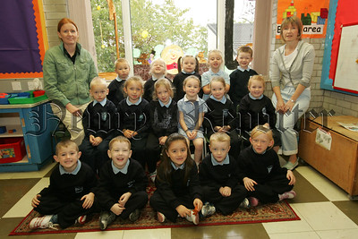 Pictured with their Teacher Mrs Bellew and Mrs McCorry are the new Primary 1 class at St Joseph's P.S. Bessbrook. 07W38N16