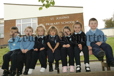 Pictured are Jamie-lee, Eugene, Sarah, Lucy, Caitlin, Cara and Rhys who have just started Primary 1 at St Joseph's Primary School Bessbrook. 07W38N17