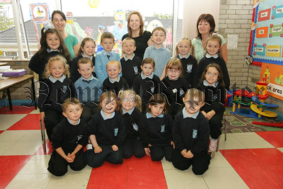 Pictured with their Teacher Miss O'hagan and Classroom assistants Mrs McKeown and Mrs Burmns are the new Primary 1 class at St Joseph's Primary School Bessbrook. 07W38N15