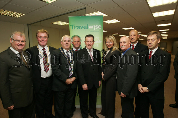 Conor Murphy MLA Minister for Regional Development is joined by Mayor Michael Cole, Deputy Mayor Charlie Casey and Chamber of Coimmerce President Divid Hanna MBE at the launch of the Travelwise pledge which encourages commuters to swap their car for other modes of transport. Also pictured are, Diarmuid McKeown Director McKeowns Solicitors, Eddie Curtis, Orla Jackson, Robert Monaghan and Brian Mooreland from the Roads Service. 07W38N36