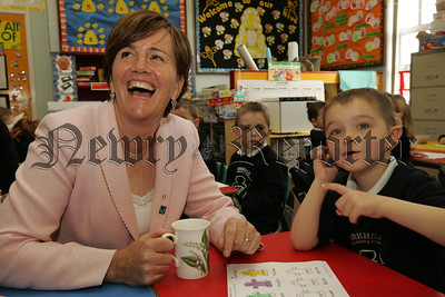 Minister for Education Caitriona Ruane MLA is pictured with Jordan McCabe during a visit to Forkhill Primary School on Wednesday last. 07W38N2