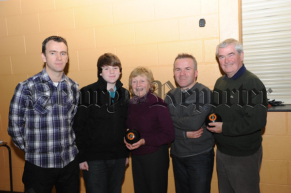 Terry and Conor McStravick with Margaret Sean and Tony O'Hare of Forkhill Bowling Club 10W01S601