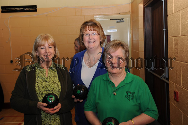 Vera Mohan, Caroline McSherry and Bernie Cunningham following their success at the All Ireland Series in Cooley.   They progress to the Semi Finals of the All Ireland Sreies having beat Mid Down 80 - 29. 10W01S611