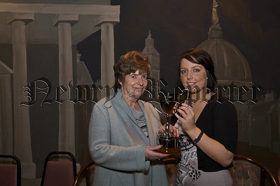 Our Lady's GS Prizegiving.Mrs Eimear Clelland presenting Sr Mary Anthony Curran Special Endeavour award to Roisin Bradley.09W52N748