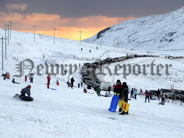 The Kilkeel Road above Spelga Dam Co Down became congested with people parking to enjoy the recent snowfall. Photo Paul Byrne Photography
