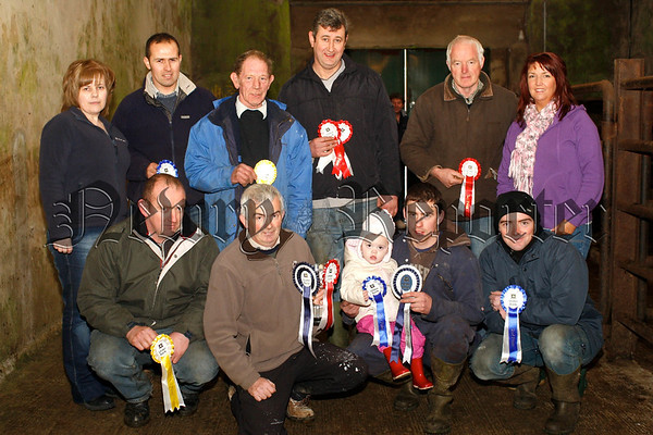 Prizewinners at the Christmas Fatstock Show and Sale in Newtownhamilton Mart. Included front from left: Samuel Dougan, Newtownhamilton; Dessie O'Hanlon, Dromintee; Robert and Ruby Johnston, Newtownhamilton and Aaron Parks, Tandragee. Back from left: Anne Fearon, Ulster Bank, Newtownhamilton, Sponsors; Gareth Gibson, Newtownhamilton; William Moffett, Mowhan; Joe McCarragher, Armagh; Kieran Fox, Maghery and Anne Morgan, Ulster Bank, Newtownhamilton, Sponsors.